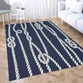 Dethel Dark Blue Area Rug Girls Area Rug 3X5 Marine Rope Knot Navy White Ornament Nautical Knots Dark for Home Décor,Indoor,Living,Dining Room Bar Area Rug Area Rug for Men