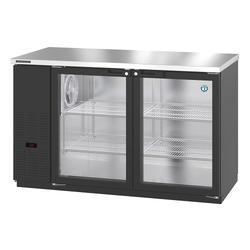 """Hoshizaki HBB-2G-LD-59 59 1/2"""" Bar Refrigerator - 2 Swinging Glass Doors, Black, 115v"""