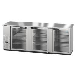 "Hoshizaki BB95-G-S 95 1/2"" Bar Refrigerator - 3 Swinging Glass Doors, Stainless, 115v"