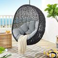 Modway EEI-3636-BLK-GRY Encase Swing Outdoor Patio Lounge Chair Without Stand, Black Gray