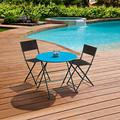 Folding Patio Chair Set,Yirise Patio Folding Chair Deck Sling Back Chair Camping Garden Pool Beach Using Chairs Space Saving Set of 2PCS Folding Patio Chair Set Outdoor Pool Lawn Portable Wicker Chair