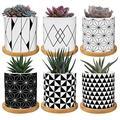 ANOTION Succulent Plant Pots, Small Plant Pot with Drainage Holes and Saucers, 2.8 Inch Mini Plant Pots for Succulent Plants, 6 Packs