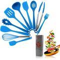 Crestgolf Ensemble d'ustensiles de Cuisine en Silicone pour la Maison, 11 pièces, ustensiles de Cuisine en Silicone antiadhésifs et résistants à la Chaleur, ustensiles de Cuisine Anti-Rayures(Blue