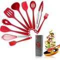 Crestgolf Ensemble d'ustensiles de Cuisine en Silicone pour la Maison, 11 pièces, ustensiles de Cuisine en Silicone antiadhésifs et résistants à la Chaleur, ustensiles de Cuisine Anti-Rayures(Red)
