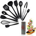 Crestgolf Ensemble d'ustensiles de Cuisine en Silicone pour la Maison, 11 pièces, ustensiles de Cuisine en Silicone antiadhésifs et résistants à la Chaleur, ustensiles de Cuisine Anti-Rayures(Black)
