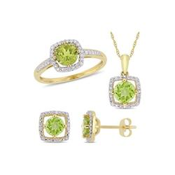 Belk & Co. Yellow 3-Piece Set 2.87 ct. t.w. Peridot and 1/3 ct. t.w. Diamond Square Halo Necklace, Earrings and Ring in 10K Yellow Gold