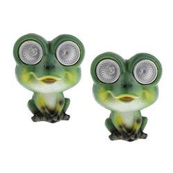 homozy 2Pcs Solar Frog Lights, Solar Garden Statue Lights Outdoor, Frog Solar Powered Lights for Lawn Yard Decorations and Gift