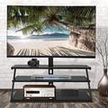 MTFY Swivel Floor TV Stand with Mount,3 Tier Glass Mobile TV Stand with Height Adjustable Mount,Media Component TV Stand for 32 37 42 47 50 55 60 65 inch LCD, LED OLED TVs or Curved TVs