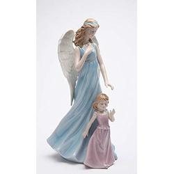 """Cosmos Gifts Fine Porcelain Inspirational Guardian Angel Guiding & Protecting Little Girl Figurine, 11-5/8"""" H"""