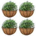 Nuptio 4 Pcs Hanging Wall Planter Wall Mounted Planters, Wall Hanging Baskets Half Moon Basket Outdoor Hanging Flower Pot with Coco Liners for Planters, Hanging Baskets for Plants Outdoor