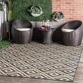 nuLOOM Jayne Geometric Diamond Indoor/Outdoor Area Rug, 4' x 6', Dark Grey