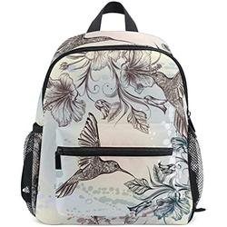 NB UUD Mini Backpack Vintage Tropical Flower Hummingbird Daily Backpack for Travel