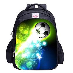 Soccer Backpack for Boys, Soccer Print Backpack Cool Football Pattern School Bag (Soccer Bag 9)
