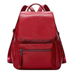OVER EARTH Genuine Leather Backpack for Women Fashion Travel Leather Rucksack Purse with Flap for Ladies Large(O138E Wine Red)