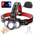 [2021 Newest]LED Headlamp Flashlight 1000 Lumen Multifunctional-Rechargeable Work Light with Button&Motion Mode-Running,Camping,Outdoor Waterproof-Best Head Lamp with Red&Blue Flash Lights