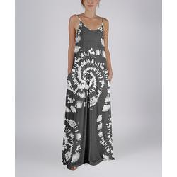 Beyond This Plane Women's Maxi Dresses GRY - Gray & White Tie-Dye Pocket Sleeveless Maxi Dress - Women & Plus