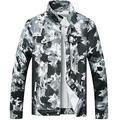 LZLER Jean Jacket for Men,Ripped Denim Jacket for Men with Holes(Black-White1819, Medium)