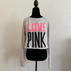 Pink Victoria's Secret Sweaters   Pink Cropped Sweatshirt   Color: Black/Gray   Size: S