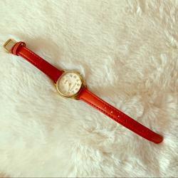 Coach Accessories | Authentic Coach Genuine Leather Red Orange Watch | Color: Orange/Red | Size: Os