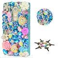 STENES Bling Phone Case Compatible with LG Aristo 5, LG Aristo 5 Plus, LG K31, LG Risio 4, LG Phoenix 5, LG Fortune 3, LG K8X - Anchor Shell Rose Flowrs - Novy Blue