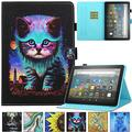 Kindle Fire HD 8 Plus 2020 Case, Artyond PU Leather Card Slot Smart Cover with Auto Sleep/Wake Slim Stand Case for Amazon Kindle Fire HD 8 Plus/Fire HD 8 10th Gen 2020 Release (Night Cat)