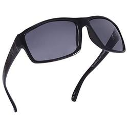 Kreedom Mead Men's Sport & Style Sunglasses, Slight Wrap Around Gloss Black & Silver Frame, 100% UV Protection Smoke Colored Scratch Resistant Rectangular Curved Lens