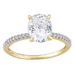 Stella Grace 14k Gold 2 Carat T.W. Lab-Created Moissanite & 1/10 Carat T.W. Diamond Engagement Ring, Women's, Size: 8.50, White