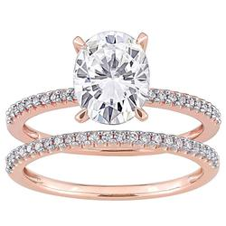 Stella Grace 14k Rose Gold 2 Carat T.W. Lab-Created Moissanite & 1/4 Carat T.W. Diamond Engagement Ring Set, Women's, Size: 10, White