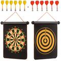 Magnetic Dart Board Game Set for Kids, Teenagers and Adults - Roll-Up, Double Sided 16 Inch Dart Board, Hang it Anywhere Safe Toy Dart Game Set with 12 Darts, Safety Indoor/Outdoor Game