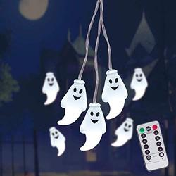 LUMINATERY Halloween Ghost Light String, 25LED 8 Lighting Modes, Remote Control, Battery-Powered Waterproof String Lights, Perfect for Indoor and Outdoor Halloween Decoration (1)