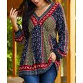 Suzanne Betro Weekend Women's Blouses 101NAVY/OLIVE - Navy & Olive Floral V-Neck Tunic - Women & Plus