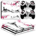 PS4 Pro Skin for Console and Controllers by ZOOMHITSKINS, Same Decal Quality for Cars, Japan Cherry Blossom Pink Temple Anime Flower Sakura, High Quality, Durable, Bubble-free, Goo-free, Made in USA