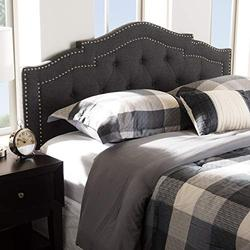 "Baxton Studio Edith Modern and Contemporary Dark Grey Fabric Queen Size Headboard/Queen/Contemporary/Grey/Fabric Polyester 100%""/LVL/Foam"
