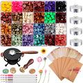 Wax Seal Kit, Including Octagon Wax Seal Beads, Sealing Wax Candles, Wax Seal Warmer, Wax Melting Spoon, Vintage Envelopes, Wax Stamp, Marker Pen and Dried Flower for Wax Stamp Sealing