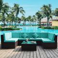 Rosecliff Heights Alannah Garden 7 Piece Rattan Sectional Seating Group w/ Cushions Wicker/Rattan in Blue | Wayfair