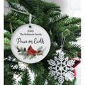 The Holiday Aisle® Peace on Earth Round Ball Ornament Wood in Brown/White, Size 3.75 H x 3.75 W x 0.13 D in | Wayfair