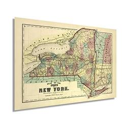 Historix Vintage 1875 New York State Map - 16x24 Inch Vintage Map of New York Wall Art - Historic Map of New York - New York State Poster - New York Map Art - Map of New York Poster - NY Map (2 Sizes)