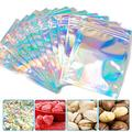 100 Pieces Resealable Smell Proof Bags Foil Mylar Ziplock Bags Aluminum Foil Bags Flat Metallic Mylar Foil Flat Food Storage Bags Pouch(Holographic Color, 5.5 x 7.8 Inches)