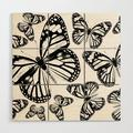 Wooden Wall Art | Monarch Butterflies | Monarch Butterfly | Vintage Butterflies | Butterfly Patterns | Black And White by Eclectic At Heart - 3' X 3' - Society6