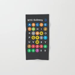 Hand Towel   New York City Subway Alphabet Map, Nyc, Lettering Illustration, Dark Version, Usa Typography by Stefanoreves - Hand Towel - Society6