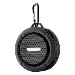 Tech Zebra Wireless Speakers Black - Black Mini Water-Resistant Round Bluetooth Speaker