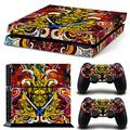 ZOOMHITSKINS PS4 Console and Controller Skins, Asia Samurai Sword Art Chinese Graphic Yellow Gold Color Japan, High Quality, Durable, Bubble-free Goo-free, 1 Console Skin 2 Controller Skins, USA Made