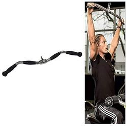 YIXUAN FITNESS Lat Pull Down Curl Bar Cable Machine Attachment, Heavy Duty Solid Gym Equipment Lat Bar, Tricep Press Down Bar with Non-Slip Grip & Revolving Hanger, Long 30inch