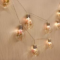 GUOCHENG Plant Decor Ball String Light Globe Bulbs LED Light Strings 2m Battery Operated Creative String Lighting for Wedding Party Bedroom - Pink
