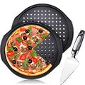 3 Pieces Pizza Crisper Set Includes Handle Grips Pizza Pans with Holes 13 Inch Carbon Steel Non-Stick Round Pizza Tray and Stainless Steel Cake Pizza Cutter Tart Dessert Slicer for Home Kitchen Baking