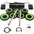 BONROB Electronic Drum Set for Kids, Foldable and Roll Up 7 Drum Pad Compatible with Roland Software, Built in Speaker with Drum Sticks, Great Holiday Birthday Gift for Kids Drum Set (Green) BM001