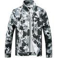LZLER Jean Jacket for Men,Ripped Denim Jacket for Men with Holes(1819 Black-White, Small)
