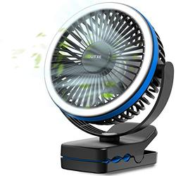 OUTXE 6700mAh Rechargeable Clip on Fan with Light, Battery Operated Clip Fan with Hanging Hook, 4 Speeds Portable Desk fan for Treadmill, Golf Cart, Bed, Car Seat, Baby Stroller - Blue