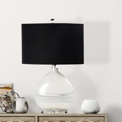 """Ivy Bronx Hollen 23.5"""" White Table Lamp Glass/Linen in Black/White, Size 23.5 H x 15.0 W x 10.0 D in 