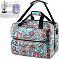 Sewing Machine Case Compatible with Singer/Brother/Janome Sewing Machines. Universal Travel Tote Bag Hold More Sewing Kits. Sewing Machine Bag with Multiple Storage Pockets and Shoulder Strap -Green